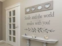 """Wall Quote """"Smile and the world smiles with you"""" Sticker Decal Decor Transfer"""